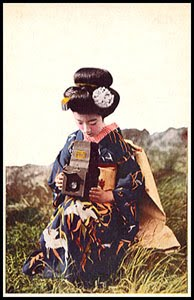 antique postcard-geisha with camera