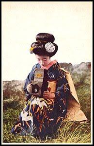 antique postcard-geisha with camera